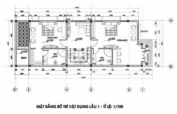 mặt bằng lầu 1 biệt thự 4 tầng tân cổ điển