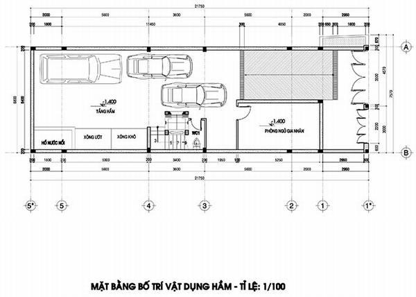 mặt bằng tầng hầm biệt thự 4 tầng tân cổ điển