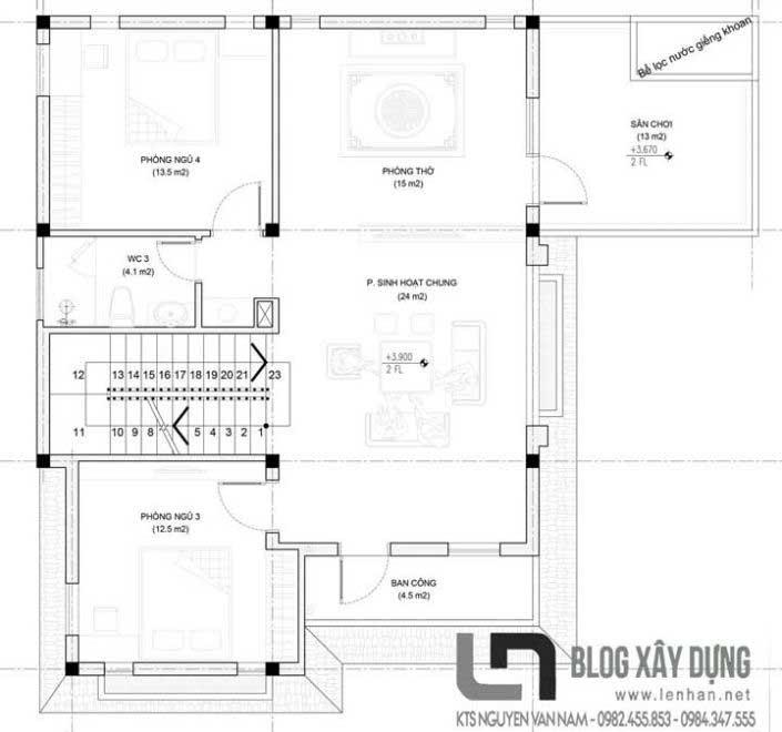 Bản vẽ mặt bằng tầng 2 căn biệt thự 3 tầng